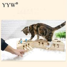 3/5-Holed Cat Toys Pet Indoor Solid Wooden Hunting Toy Interactive Mouse Seat Scratch Cats Play Best Gift