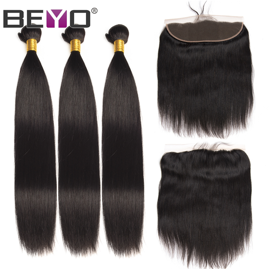 Beyo Ear To Ear Lace Frontal With Bundles Peruvian Straight Hair Bundles With Closure Human Hair Bundles With Closure Non Remy-in 3/4 Bundles with Closure from Hair Extensions & Wigs    1