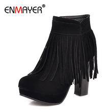 цены ENMAYER Fringe Flock Zip Round Toe Winter Shoes Women Super High Square Heel Autumn PU Solid Short Plush Boots Ankle Winter Boot