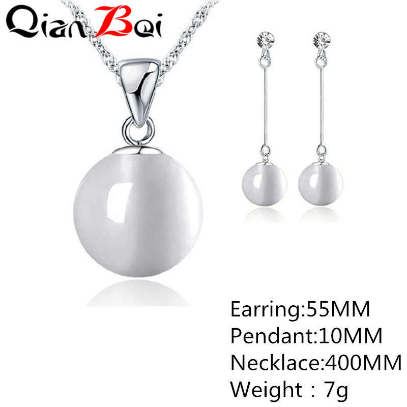 QianBei Smooth Women Wedding Jewelry Sets Pearl Necklace Earrings Fashion Jewelry Set Accessories