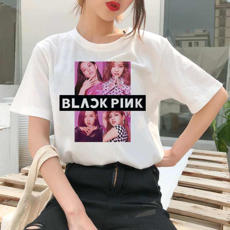 Blackpink Kill This Love T Shirt Harajuku LISA JISOO JENNIE ROSE 90s Cartoon Tshirt Women Fashion Top Tee Female Ullzang T-shirt