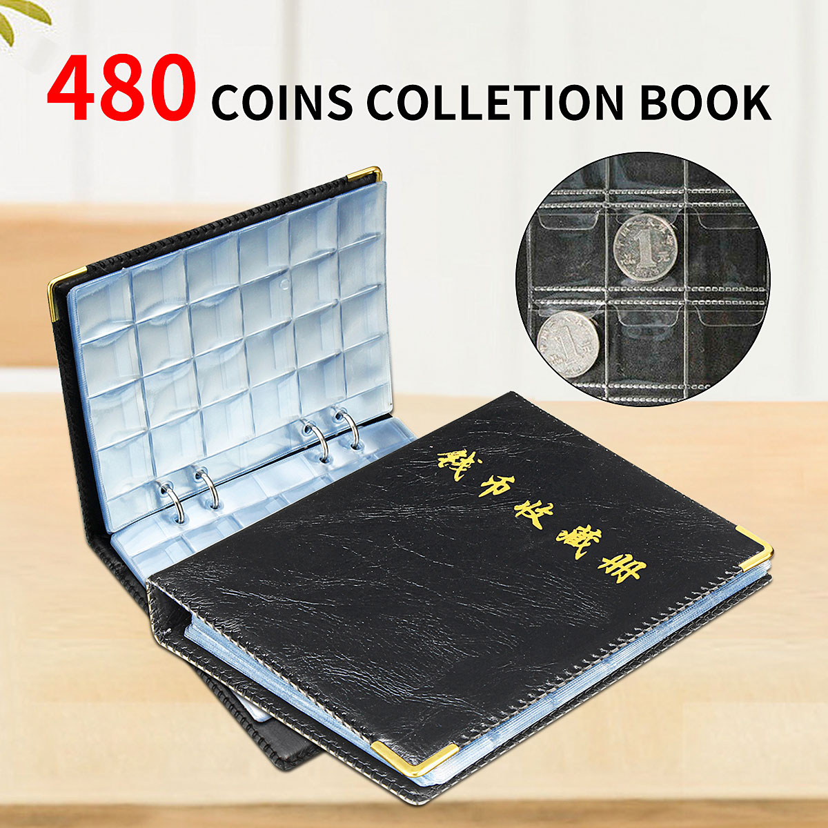 480 Pieces Coins Storage Book Commemorative Coin Collection Album Holders Collection Volume Folder Hold Multi-Color Empty Coin