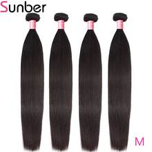 Sunber Hair Straight Peruvian Hair Bundles 4pcs/lot 100% M Remy Hair Weaves 8 - 30 Inches Natural Black Human Hair Extensions цена 2017
