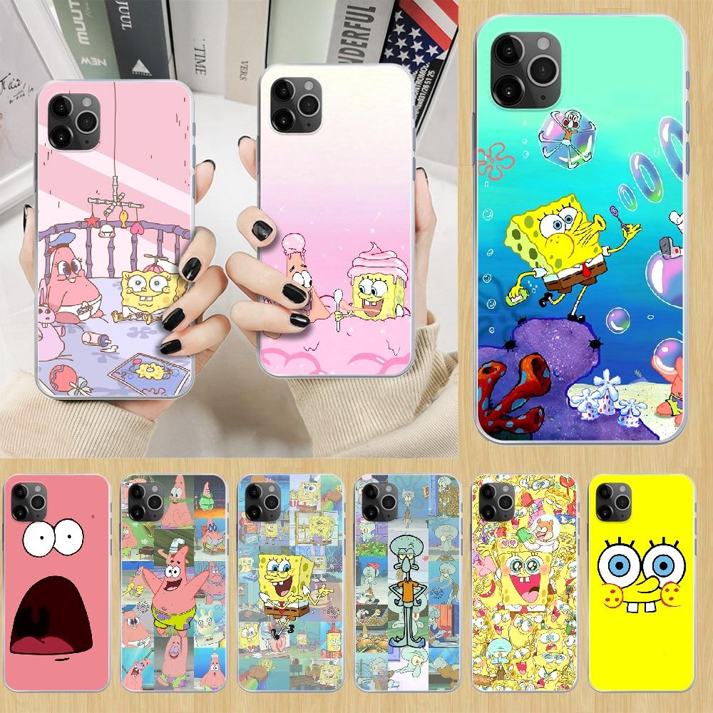 spongebob Patrick star Phone Case cover For iphone 4 4S 5 5C 5S 6 6S PLUS 7 8 X XR XS 11 PRO SE 2020 MAX transparent bumper 3D