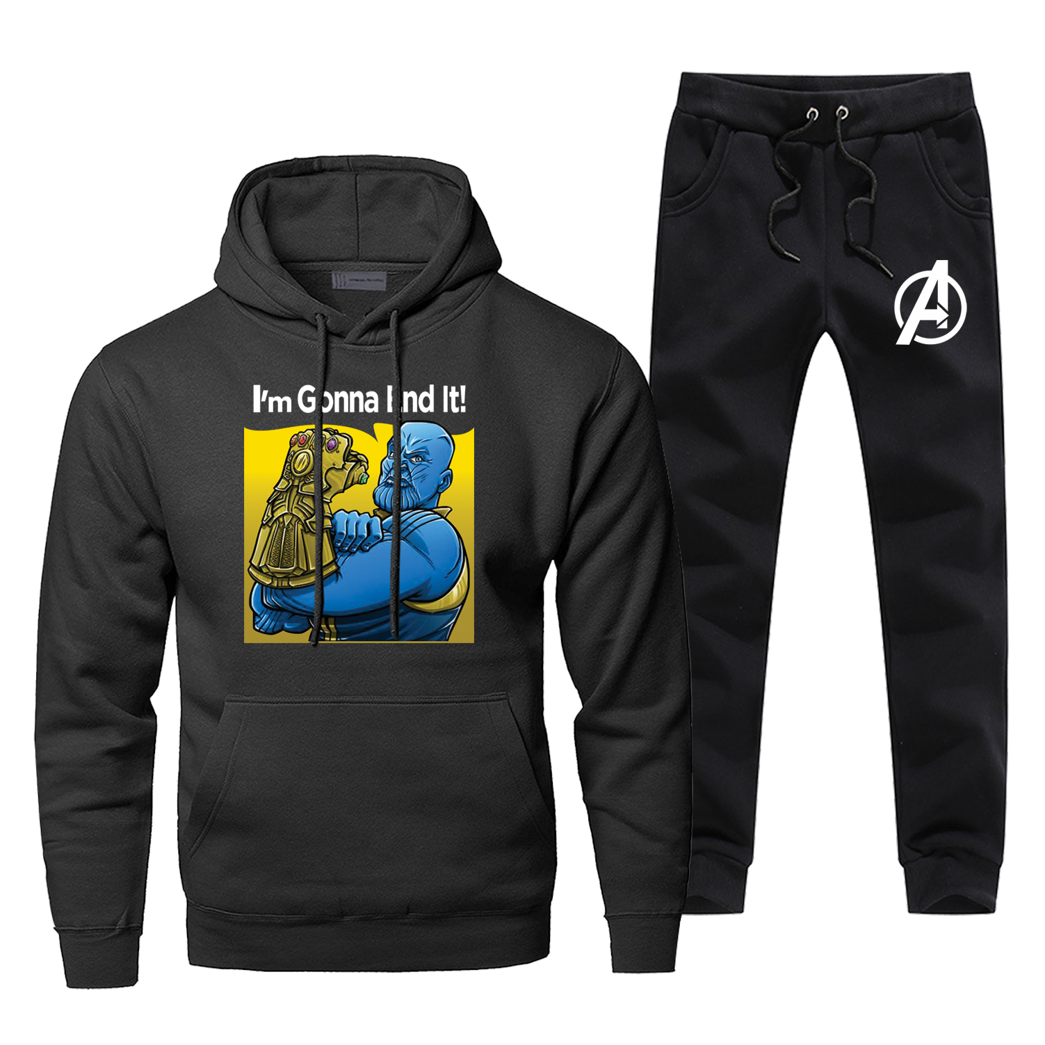 Avengers Thanos Hoodie Pants Set Men Sweatshirt Male Hoodies Sweatshirts Super Hero Mens Sets Two Piece Pant Pullover Hoody Coat