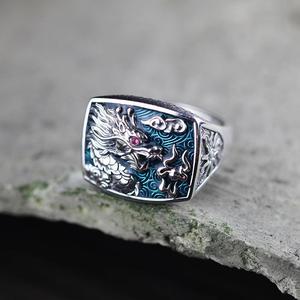 Image 5 - Anillos de dragón plateado de Ley 925 puro Real para hombres y mujeres, ajuste de piedra Cz, proceso de esmaltado de diseño hueco Vintage