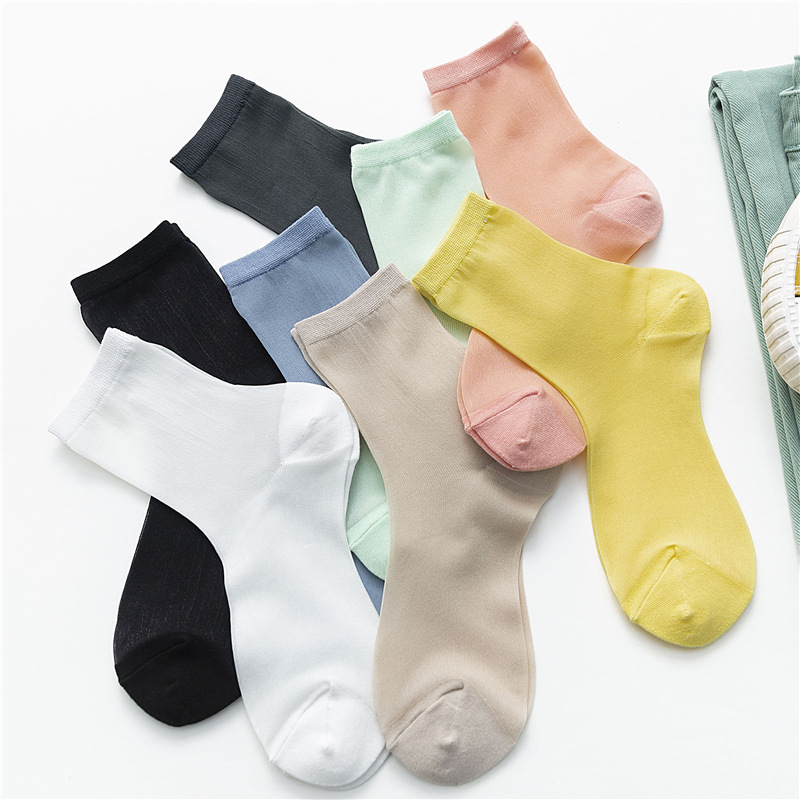 Women Candy Color Solid Thin Socks Breathable Comfortable Casual Stylish Socks For Female Streetwear Perosonal Sox Trendy
