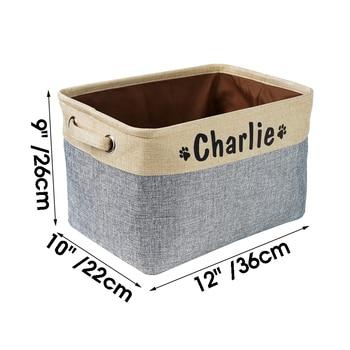Personalized Pet Dog Toy Storage Basket Dog Canvas Bag Foldable Pet Toys Linen Storage Box Bins Dog Accessories Pet Supplies 6