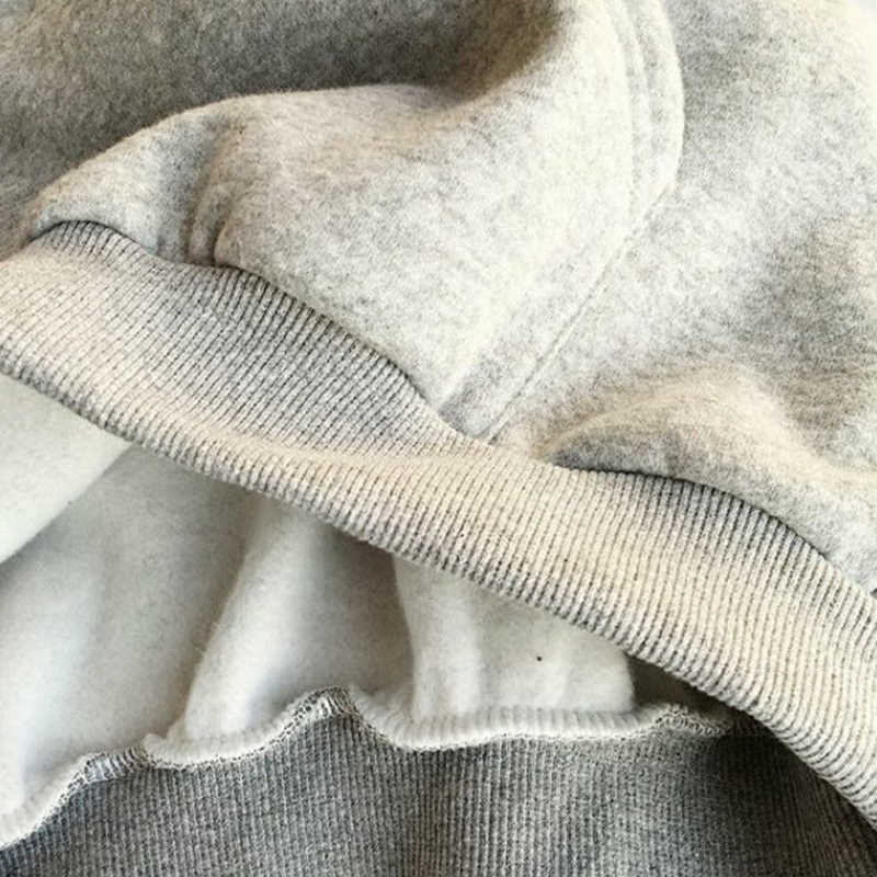 كنزة هودي نسائي Harajuku ملابس الشارع الشهير بلوزات نسائية طويلة الأكمام كنزة بغطاء رأس من الصوف ملابس رياضية سترة دافئة