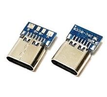 Connecteur USB 3.1 de Type C à 14 broches prise femelle réceptacle à trous PCB 180 bouclier Vertical USB-C