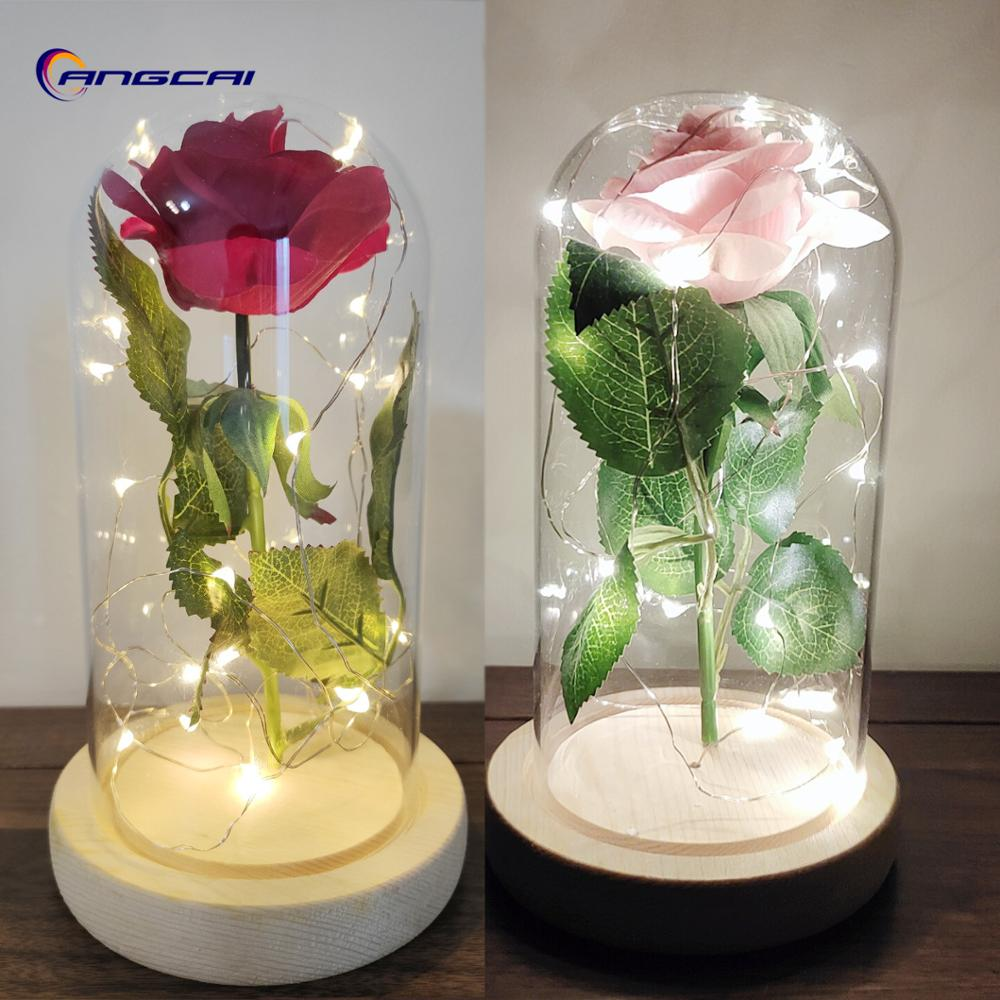 Beauty And The Beast Enchanted Rose,Glass Dome Kit, Silk Eternal Rose And Led Light String,Valentine's Day Anniversary Birthday