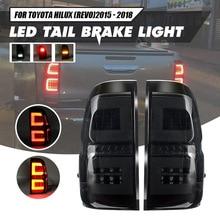 Para tylne światło ledowe dla Toyota Hilux Revo SR5 M70 2015 2018 Pickup hamulec samochodowy lampa zmodyfikowana wysoka jasność stylizacja lampa przeciwmgielna DRL
