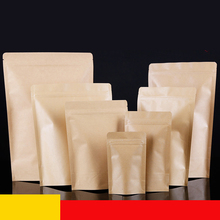 Free Shipping 100pcs/lot 17cm*24cm+4cm Bottom *140mic High Quality Food Stand Up With Zipper Kraft Paper Pouch Tea Packag Bags
