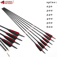 12pcs Linkboy Archery Pure 3K Carbon Arrows Shaft ID6.2mm 32 Sp250 600 Turkey Feather 75GR Tips Traditional Bow Shooting