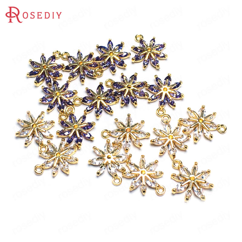 6PCS 10x12MM 24K Champagne Gold Color Brass and Zircon Flower Snowflake Charms Pendants Jewelry Making Supplies Accessories image