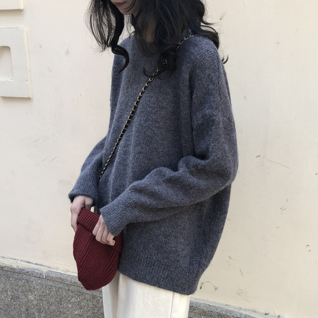 Ailegogo New Women Classic Knitted Pullovers Casual Female Sweater Loose Fit Outwear Retro Fashion Knitwear Ladies Outwear 2