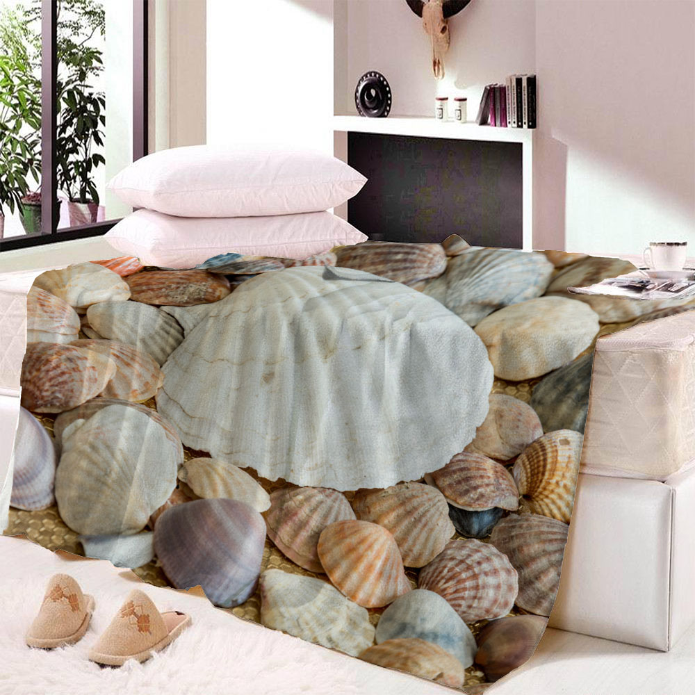 Custom Soft Fleece Throw Blanket Seashells Decor Sea Shells On The Beach Caribbean Exotic Coastline Summertime Vacation Starfish image