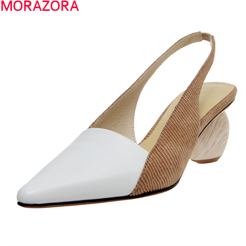 MORAZORA 2020 New Arrival Summer Shallow Women Sandals Fashion Genuine Leather Shoes Woman Med Heels Pointed Toe Party Shoes