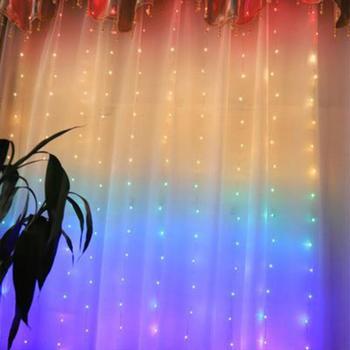 цена на 1.5 * 2M LED Rainbow Curtain Light USB Eight Function Mode Fairy Lights String Christmas Wedding Party Indoor Outdoor Decoration