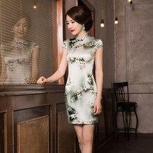 Vestido דה נשף קיץ סיני רוח פרח מודפס משי Cheongsam חצאית להראות רזה שמלה לטפח מוסר סיטונאי