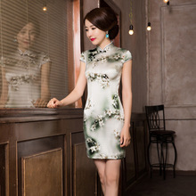 Vestido デ · デビュタント夏中国風フラワープリントシルクチャイナ表示する薄型道徳卸売