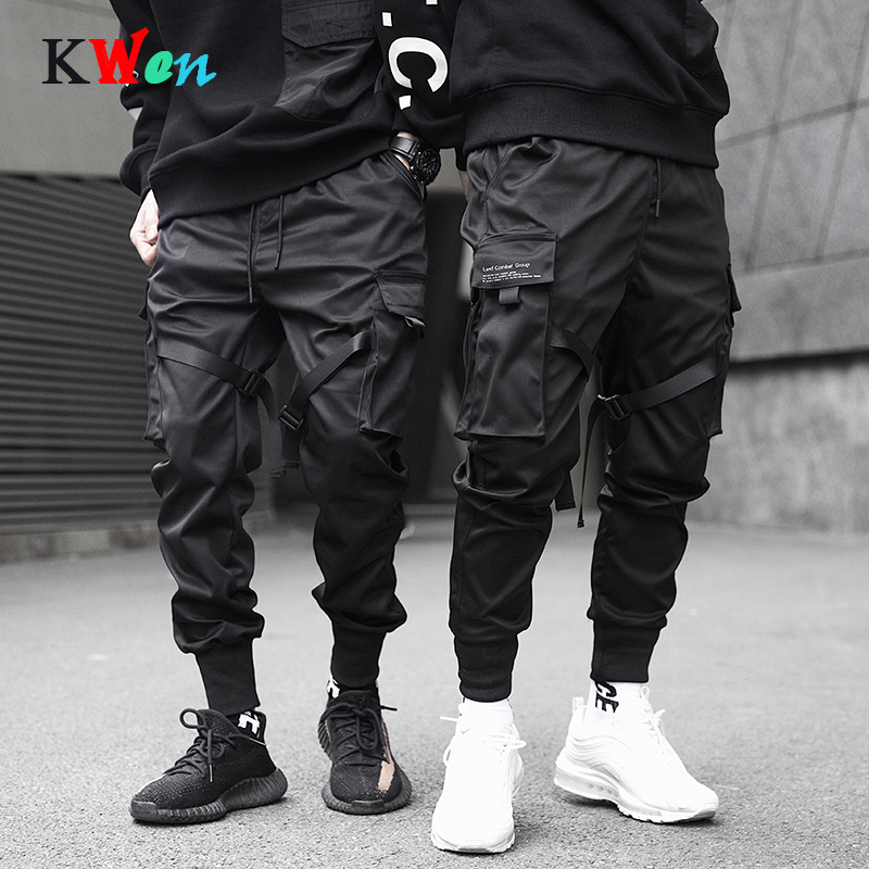 Men Sweatpants Ribbons Color Block Black Pocket Cargo Pants 2019 Harem Joggers Harajuku Sweatpant Hip Hop Trousers Streetwear