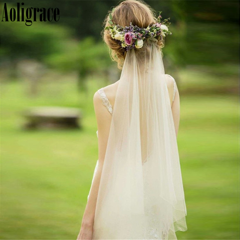 Bohemain Soft Tulle 75 Centimeters Short Bridal Veils 2020 Cut Edge Wedding Accessories Cheap Bridal Veils For Wedding