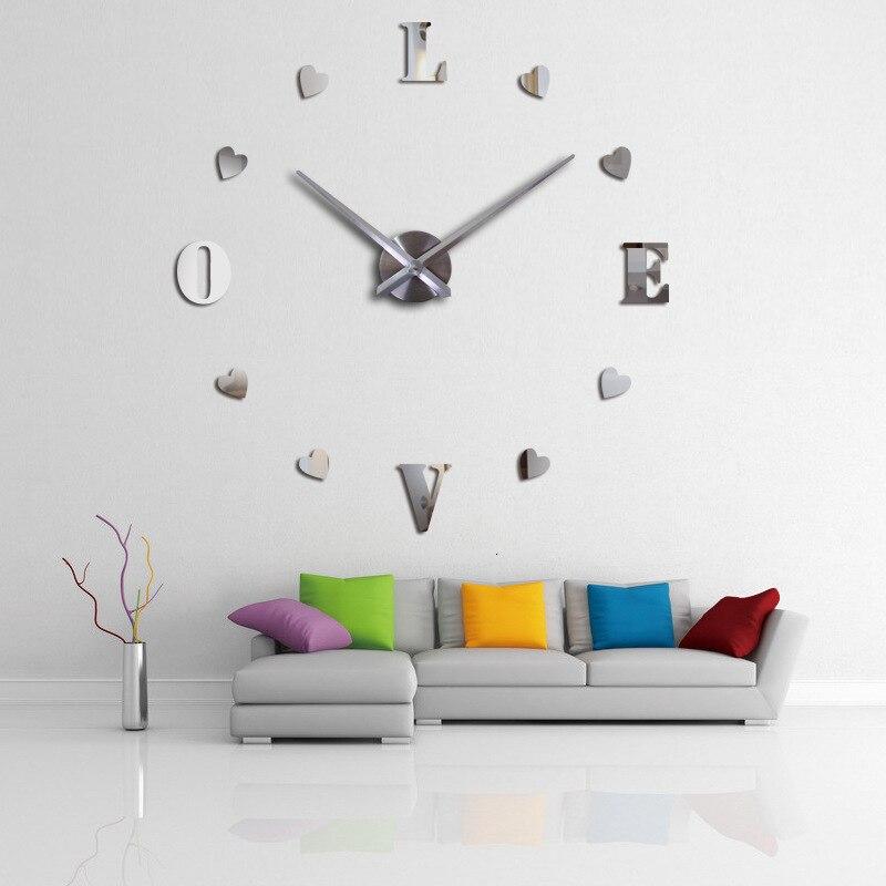 Et deuxième gramme Force horloge numérique bricolage horloge murale en trois dimensions système continu amour saint valentin horloge d'amour
