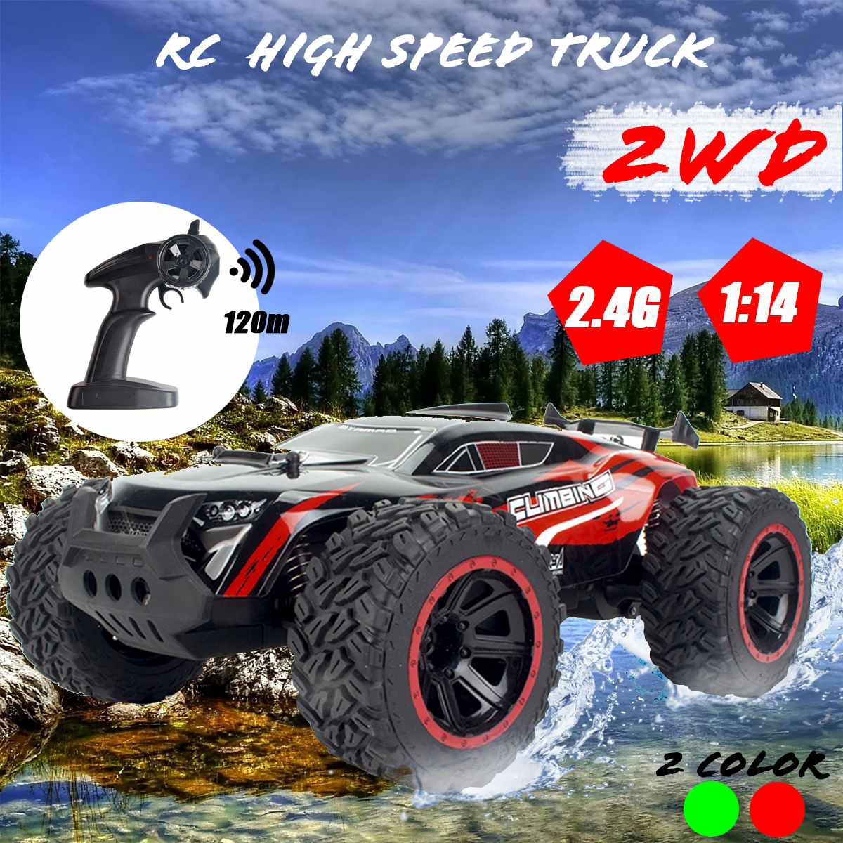 1:14 70Km/h 2WD RC Remote Control Off Road Racing Cars Vehicle 2.4Ghz Crawlers Electric Monster RC Car