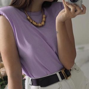 2020 summer women's new design sense niche trendy shoulder pad profile vest t-shirt solid color wild loose loose slim top