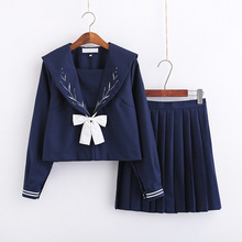 Kawaii student uniform snowflake embroidered navy style sailor suit class school girl uniform student set pleated skirt anime
