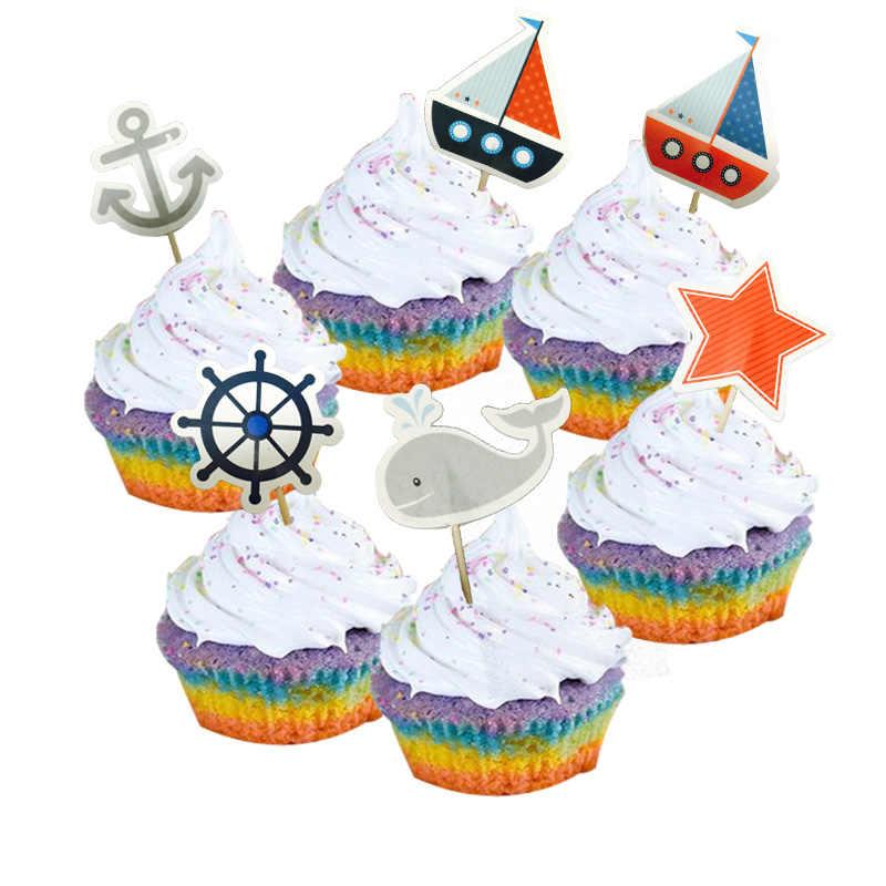 24pcs เมดิเตอร์เรเนียน Navy Sailing Anchor Cupcake Topper ฤดูร้อน Beach Ocean สไตล์เค้ก picks สำหรับ Birthday Party อุปกรณ์ตกแต่ง
