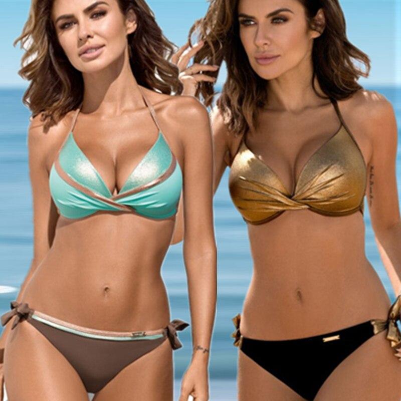 Beach Female Bikini Plavky S-XXL Swimming Suit Women Bathing Suit Women Swimwear For Women Bather Sexy Pad Push Up Bikini Set
