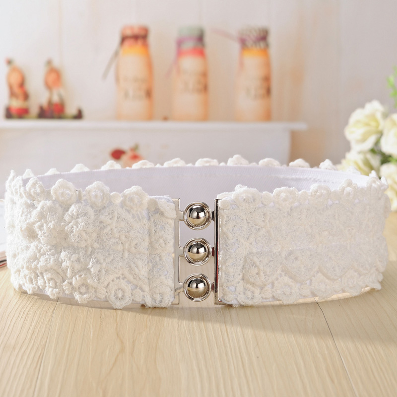 Ms. Fashion Lace Wide Belt Elastic Waist Elastic Girdle Decorative Belts Bandwidth