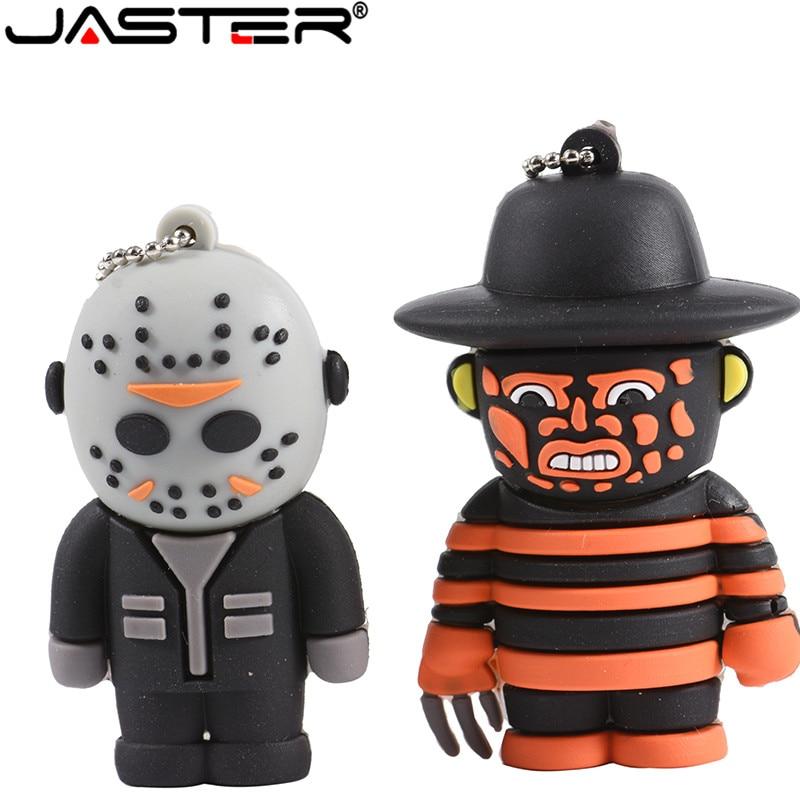 JASTER 100% Real Capacity Terror Cartoon Freddy Jason Ghost King Friday 13th New Beetle Flash Drive Usb 2.0 4GB 8GB 16GB 32G