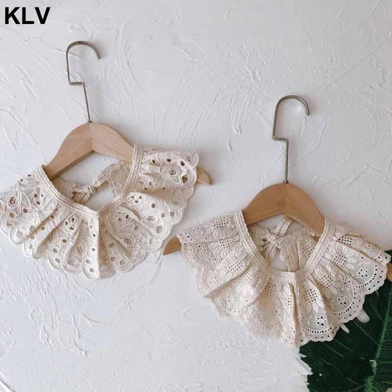 Style coréen enfant en bas âge enfants dentelle bavoirs floraux mignon évider faux col enfants vêtements accessibilité couleur Pure bébé filles coton
