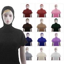 Muslim Hooded T-Shirt Women Tops Short Sleeve Baisc Clothes Turban Hijab Turkey Islamic Sport Swim Wear Stretch Hijabs Caps Tops