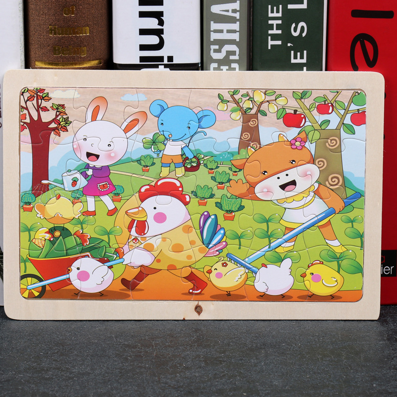 24 Slice Wood Puzzles Children Adults Vehicle Puzzles Wooden Toys Learning Education Environmental Assemble Educational Games 10