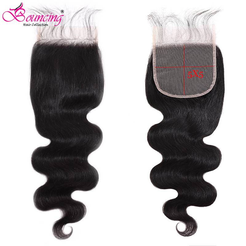 Bouncing Body Wave 5x5 Transparent Lace Closure With Baby Hair Free Part Transparent Lace Brazilian Remy Hair Extension 8-26Inch
