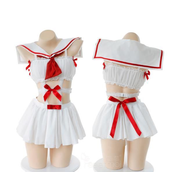 <font><b>Sexy</b></font> Girls Ultra-short <font><b>Dress</b></font> Sailor Uniform Bow Knot Tie <font><b>Sexy</b></font> Babydoll Lingerie Students Uniforms <font><b>Halloween</b></font> Costumes For <font><b>Women</b></font> image