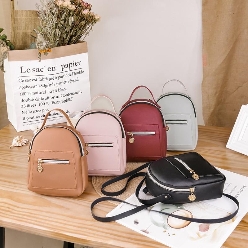 Children Mini Backpack Women PU Leather Shoulder Bag For Teenage Girls Kids Multi-Function Small Bagpack Ladies School Bag Purse