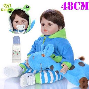 "19"" 48cm reborn dolls soft silicone vinyl baby dolls real boy babies alive doll bebe boneca reborn menino frog clothing"
