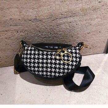 Houndstooth Waist Bag Crossbody Bags For Women Bolsa Fanny Pack Belt Bag Pochete Sac Banane Running Pochette Femme