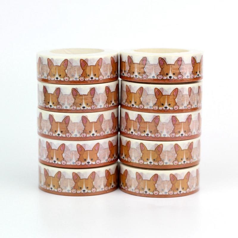 10pcs/lot Decorative Cute Corgi Dog Washi Tapes Paper DIY Scrapbooking Stickers Japanese Masking Tape Wholesale Stationery
