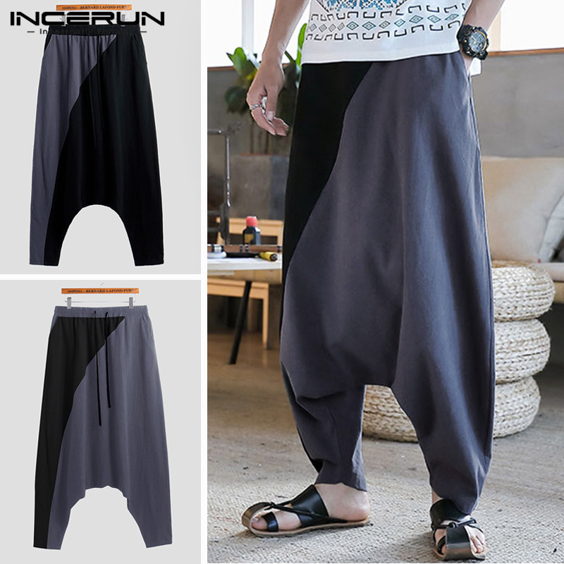 INCERUN MEN Chic Breathable Lacing Wide-leg Trousers Full Cotton Street Style Harem Pants Fashion Loose Pantalones Hombre 2020