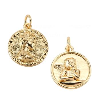Anioł Charms na kolczyki naszyjnik akcesoria do rękodzieła złoto Diy biżuteria akcesoria Charms Metal miedź CZ cyrkon 5mm otwór