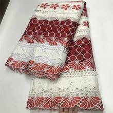 Высокое качество нигерийская Свадебная африканская кружевная ткань хлопок кружево гипюр шнур кружевная ткань для женщин вечерние XY3146B-3