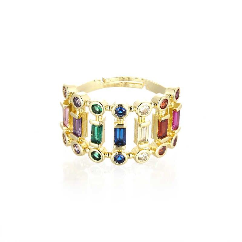 Luxe vrouwen gouden ring cz regenboog ringen accessoires voor vrouwen kleurrijke zirkoon crystal verstelbare ring sieraden femme gift