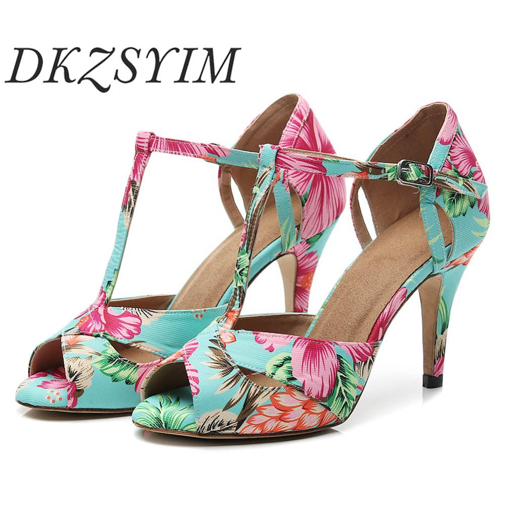DKZSYIM Ballroom Latin Dance Shoes For Women Ladies Girls Green Printed Tango Shoes Fish mouth exposed shoes toes salsa 5 10cm