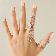 Women Chic Alloy+Rhinestone Shiny Crystal Floral Ring Celebrity Party Connect Full 2 Finger Rings for women(China)